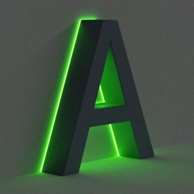 Объемные буквы с подсветкой контражур /с ореолом.  С металлоконструкцией.
