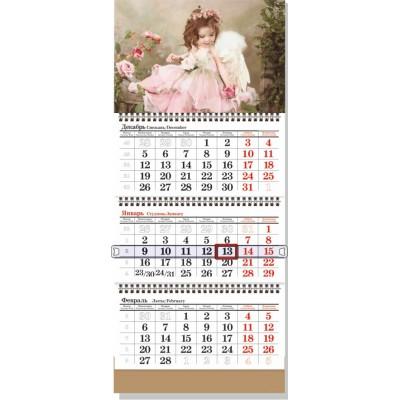 Календарь квартальный  3 пружины БЮДЖЕТНЫЙ сетка СТАНДАРТНАЯ (одно рекламное поле) крепление люверс,шапка картон 250