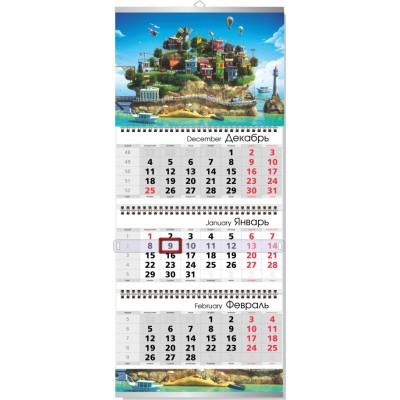 Календарь квартальный  3 пружины БЮДЖЕТНЫЙ сетка ИНДИВИДУАЛЬНАЯ ЦИФРА (4+0) (одно рекламное поле) крепление металлическая планка