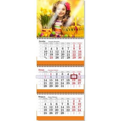 Календарь квартальный  3 пружины СТАНДАРТНЫЙ сетка СТАНДАРТНАЯ (три рекламных поля) крепление люверс