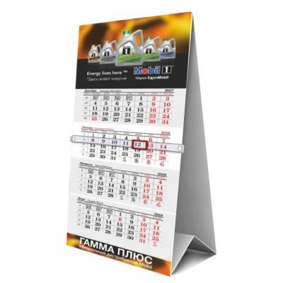 Календарь-домик 87х215 сетка ИНДИВИДУАЛЬНАЯ ЦИФРА 4+0, под пластиком