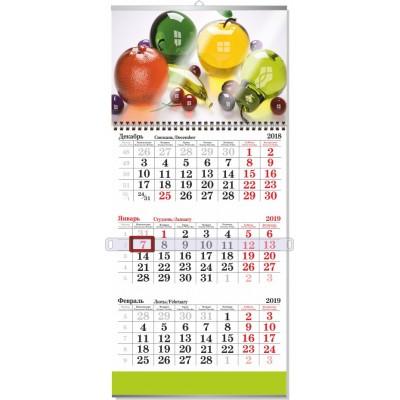 Календарь 1 пружина,  с 1 блоком на 3 месяца,  сетка СТАНДАРТНАЯ НЕРАЗРЕЗНАЯ, ламинация 80мкм, минимальный заказ 20шт.