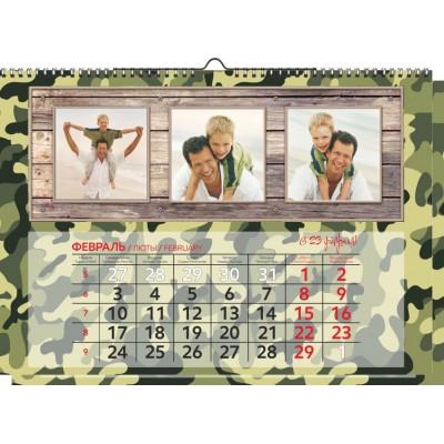 Календарь с фото 1 пружина НА РИГЕЛЕ, сетка ИНДИВИДУАЛЬНАЯ
