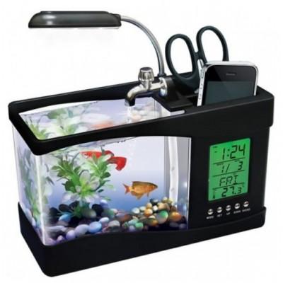 Настольный мини USB аквариум  с органайзером