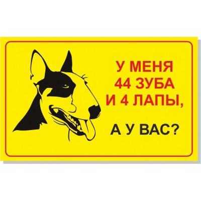 Табличка Злая собака, размер  400х250 мм, №10