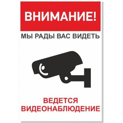 "Табличка ""Видеонаблюдение"", размер  220х150 мм"