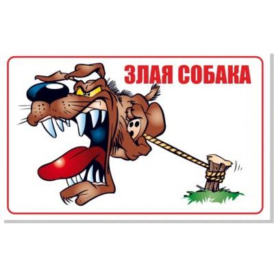 Табличка Злая собака, размер  400х250 мм, №8