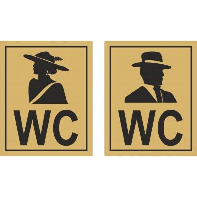 Табличка на туалет из двухслойного пластика 150*120мм, золото, Арт. 24