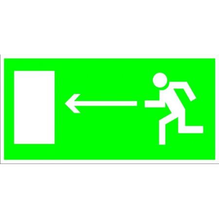 Направление к эвакуационному выходу налево, табличка светонакопительная