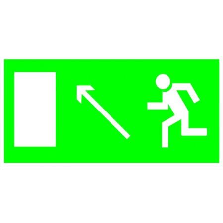 Направление к эвакуационному выходу налево вверх, табличка