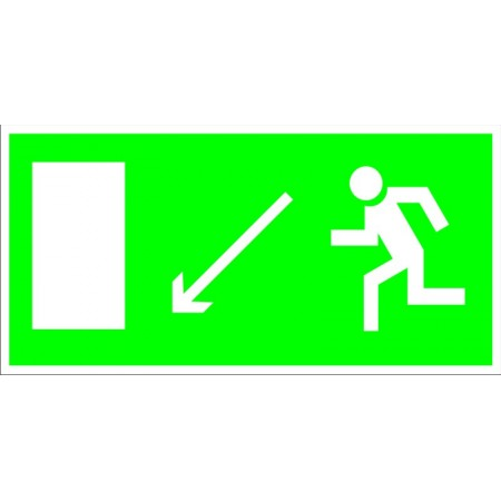 Направление к эвакуационному выходу налево вниз, табличка светонакопительная
