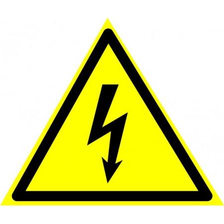 Опасность поражения электротоком (треугольник + надпись внизу), табличка
