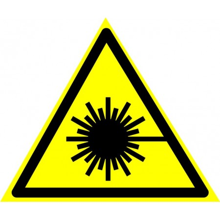 Опасно. Лазерное излучение (треугольник + надпись внизу), табличка