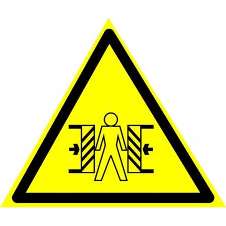 Осторожно.  Режущие валы (треугольник + надпись внизу), наклейка