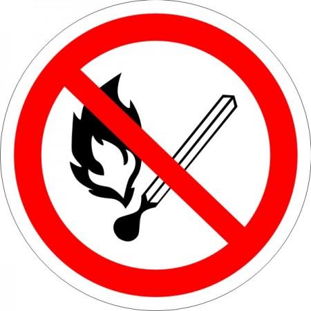 Запрещается пользоваться открытым огнем и курить, табличка